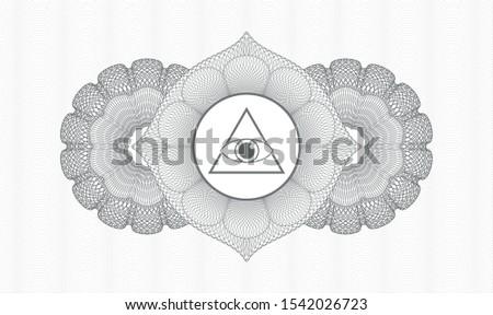 Grey passport rosette with illuminati pyramid icon inside