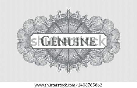 Grey passport rosette with text Genuine inside