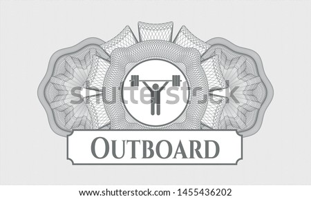Grey passport rosette with weightlifting icon and Outboard text inside