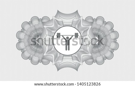 Grey passport style rosette with weightlifting icon inside
