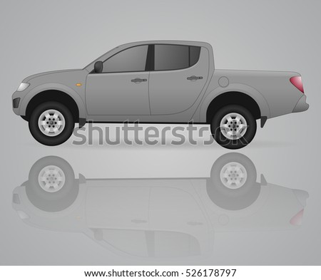 grey pick up truck vector