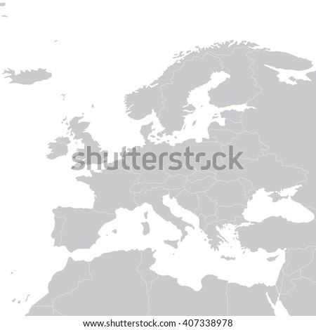 grey political map of europe