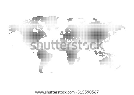 Grey Political World Map Vector isolated Illustration. #515590567