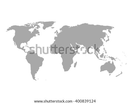grey political world map  white