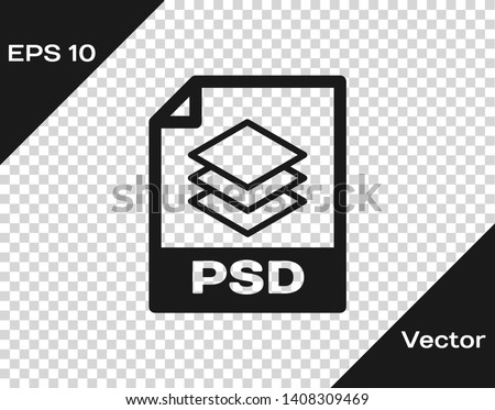 Grey PSD file document icon. Download psd button icon isolated on transparent background. PSD file symbol. Vector Illustration