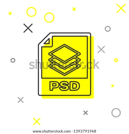 Grey PSD file document icon. Download psd button line icon isolated on white background. PSD file symbol. Vector Illustration