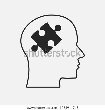 Grey Puzzle Piece Silhouette Head - Vector Illustration. Jigsaw Blank Template. Vector Puzzle Object. Information Puzzle Design. Intellect, Brain, Thought, Head, Idea. Puzzle Head Pieces Brain.