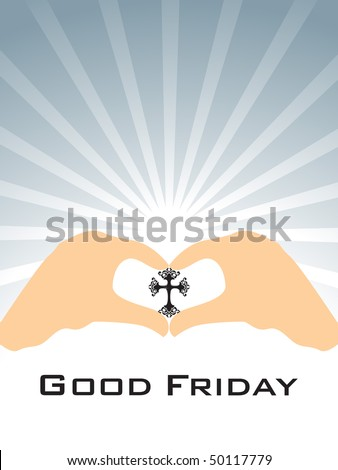 grey rays background with hand holding cross