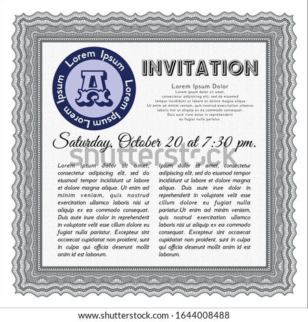 Grey Retro invitation. Customizable, Easy to edit and change colors. With linear background. Money Pattern.