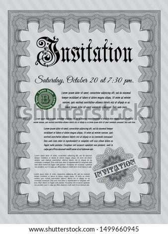 Grey Retro invitation template. With complex background. Customizable, Easy to edit and change colors. Money Pattern.