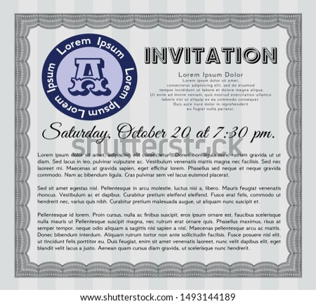 Grey Retro vintage invitation. Nice design. With great quality guilloche pattern. Customizable, Easy to edit and change colors.