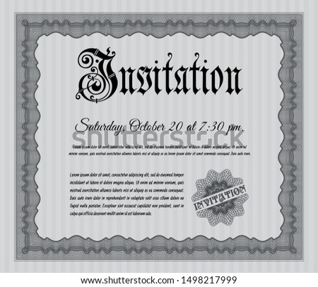 Grey Retro vintage invitation. With linear background. Customizable, Easy to edit and change colors. Artistry design.