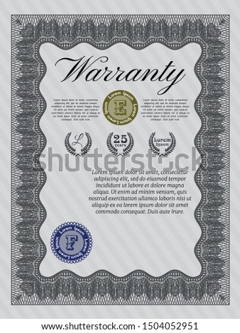 Grey Retro vintage Warranty Certificate. With guilloche pattern and background. Lovely design. Customizable, Easy to edit and change colors.