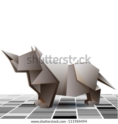 grey rhino on grey tiled floor background.vector design - stock vector