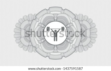 Grey rosette. Linear Illustration. with weightlifting icon inside