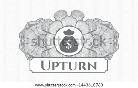 Grey rosette (money style emblem) with money bag icon and Upturn text inside