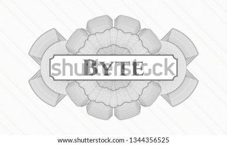 Grey rosette or money style emblem with text Byte inside
