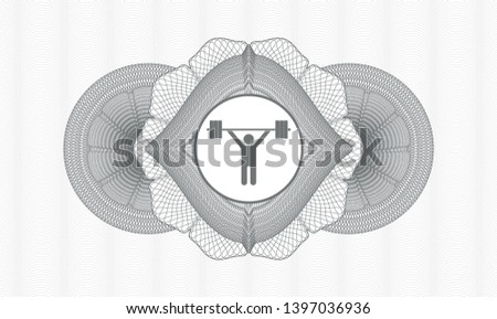 Grey rosette or money style emblem with weightlifting icon inside