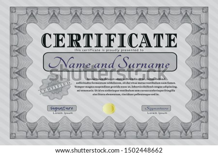 Grey Sample Certificate. Beauty design. Customizable, Easy to edit and change colors. Printer friendly.