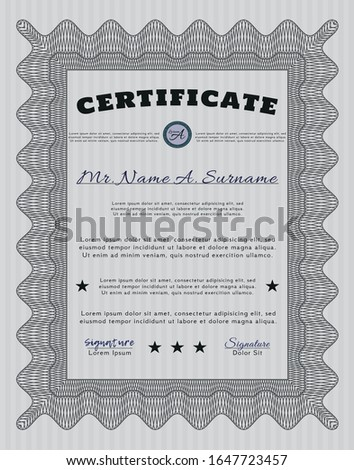 Grey Sample Certificate. Money design. With great quality guilloche pattern. Customizable, Easy to edit and change colors.