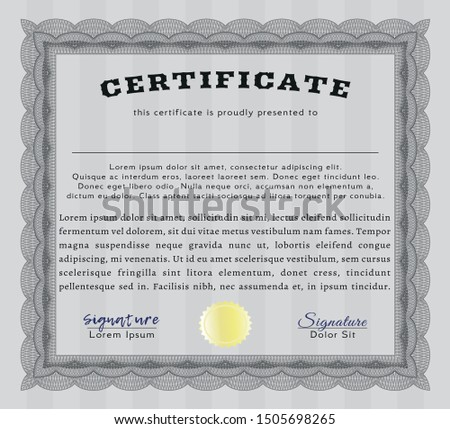 Grey Sample certificate or diploma. With complex background. Customizable, Easy to edit and change colors. Money design.