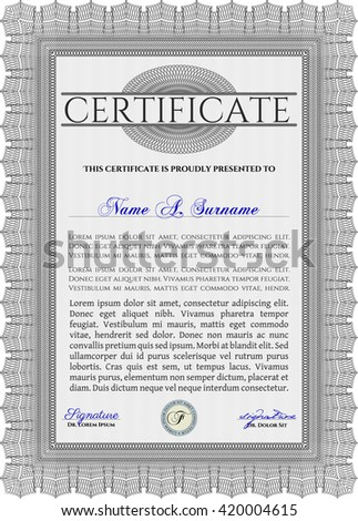 Grey Sample Certificate. With quality background. Vector pattern that is used in money and certificate. Artistry design.