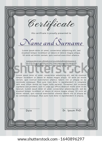 Grey Sample Diploma. With complex linear background. Good design. Customizable, Easy to edit and change colors.