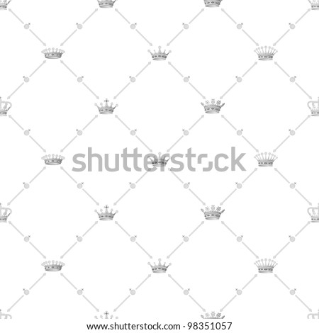 Grey seamless pattern with crown symbol, 10eps.