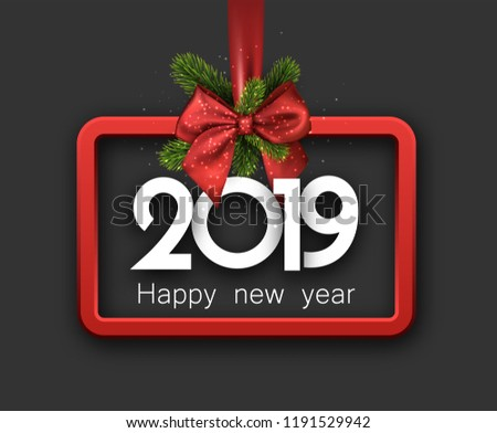 grey shiny 2019 happy new year background with red 3d frame and satin ribbon with beautiful