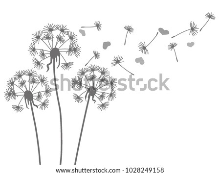 Grey silhouette of a dandelion and hearts on a white background Foto stock ©