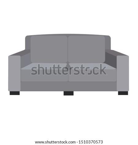 Grey sofa. Flat design icon vector illustration.