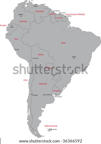 Grey South America map with countries and capital cities