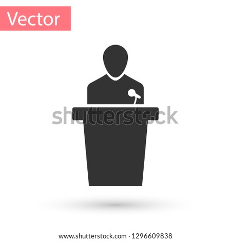 Grey Speaker icon isolated on white background. Orator speaking from tribune. Public speech. Person on podium. Vector Illustration