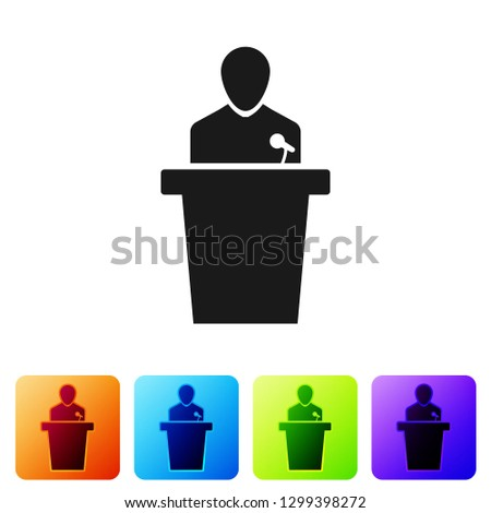 Grey Speaker icon isolated on white background. Orator speaking from tribune. Public speech. Person on podium. Set icon in color square buttons. Vector Illustration