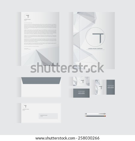 grey stationery template design