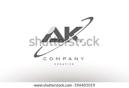 Grey Swoosh White Alphabet Company Logo Line Design Vector Icon Template Ak A K