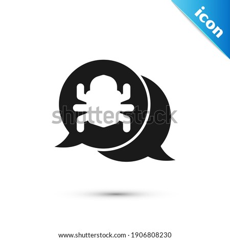 Grey System bug concept icon isolated on white background. Code bug concept. Bug in the system. Bug searching.  Vector