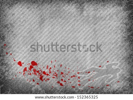 grey texture with red splatter ans silhouette of murder