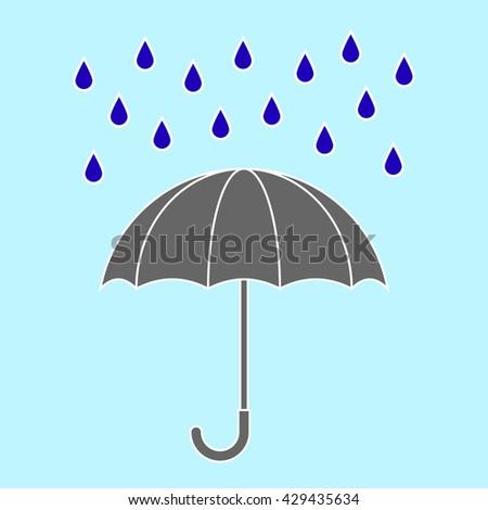 grey umbrella with rain drops