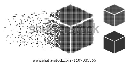 Stock Photo Grey vector cube icon in dissolved, pixelated halftone and undamaged entire variants. Disappearing effect involves rectangle dots. Fragments are arranged into dissolving cube pictogram.