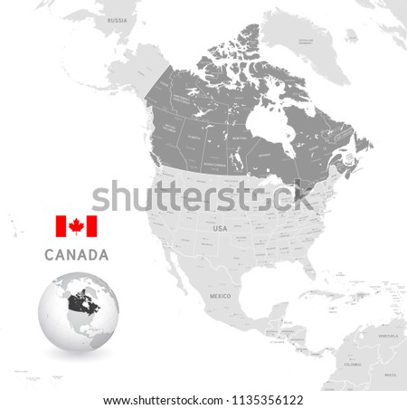 Grey Vector Map of Canada with Administrative borders, City and Region Names, international bordering countries and a 3D Globe centered on Canada