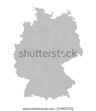 grey vector map of germany  all