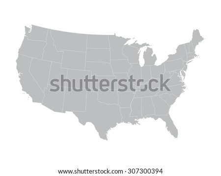 grey vector map of United States with state borders