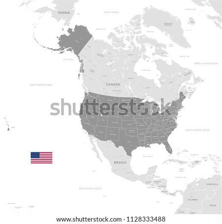 Grey Vector Map of USA with Administrative borders, City and Region Names and international bordering countries