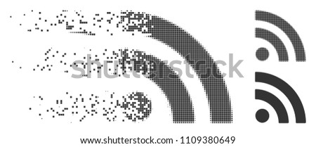 Grey vector rss icon in dissolved, pixelated halftone and undamaged whole variants. Disintegration effect uses rectangle particles. Cells are composed into disappearing rss pictogram.