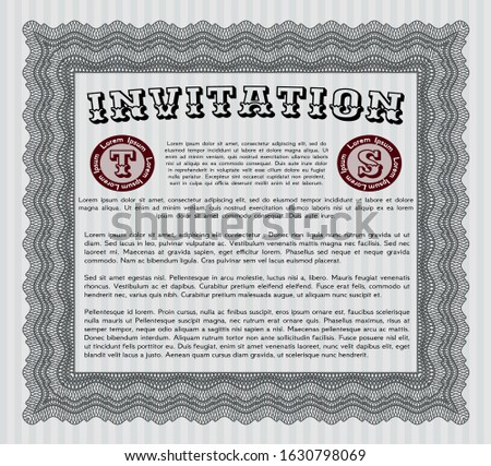 Grey Vintage invitation. Customizable, Easy to edit and change colors. With guilloche pattern. Nice design.