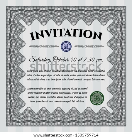 Grey Vintage invitation template. Artistry design. With guilloche pattern and background. Customizable, Easy to edit and change colors.