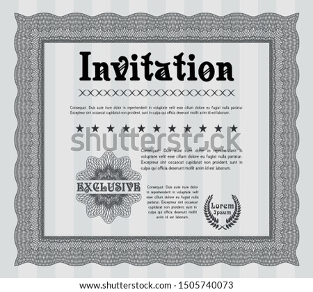 Grey Vintage invitation. With complex linear background. Artistry design. Customizable, Easy to edit and change colors.