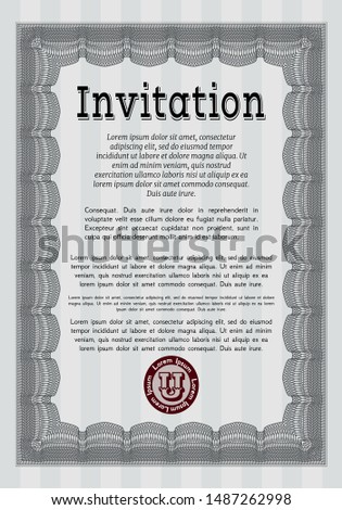 Grey Vintage invitation. With linear background. Customizable, Easy to edit and change colors. Money design.
