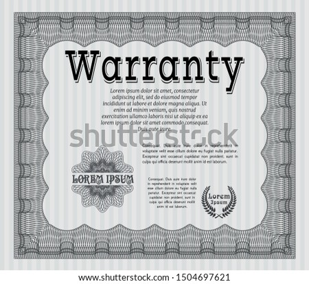 Grey Vintage Warranty template. Artistry design. Customizable, Easy to edit and change colors. With complex linear background.